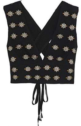 Elizabeth and James Leola Cropped Embellished Crepe Top