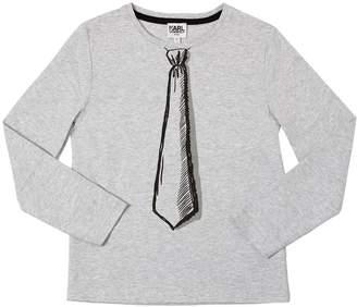 Karl Lagerfeld Tie Print Cotton Jersey T-Shirt
