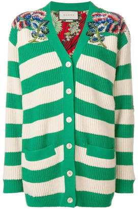 Gucci striped embellished cardigan