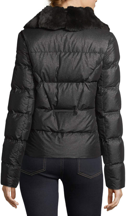 Post Card Shiny Quilted Puffer Logo Patch Jacket w/ Fur Trim