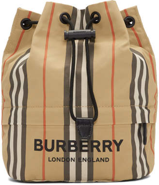 Burberry Beige Nylon Drawcord Check Pouch