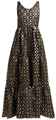 La DoubleJ Pellicano Geometric Print Brocade Dress - Womens - Black Gold