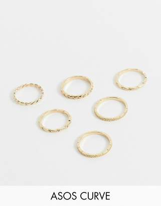 Asos DESIGN Curve pack of 6 rings in mixed chain design in gold