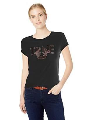 True Religion Women's Metallic Horseshoe Logo Tee