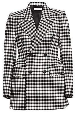Balenciaga Women's Double-Breasted Gingham Blazer