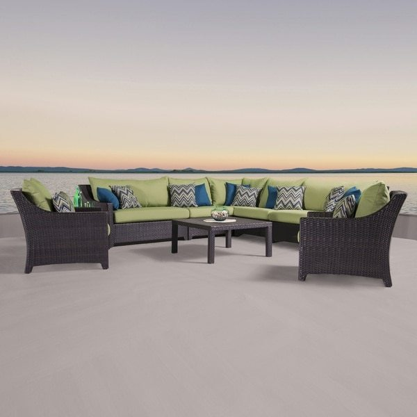 RST Brands Deco 9-piece Corner Sectional and Club Chair Set with Gingko Green Cushions