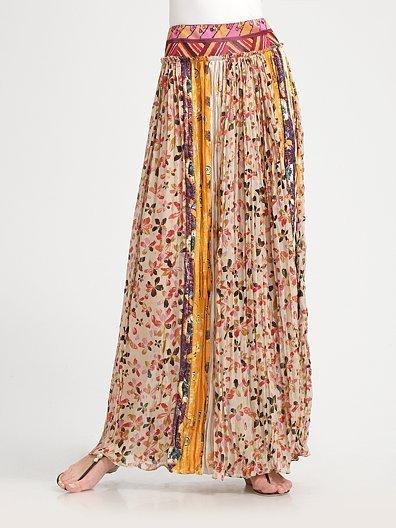 Diane von Furstenberg Parisa Pleated Silk Skirt