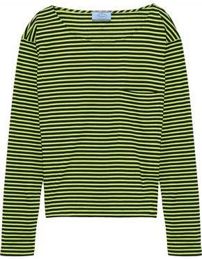 Prada Neon Striped Cotton-Jersey Top