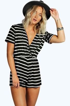 boohoo Wrap Front Capped Sleeve Striped Playsuit