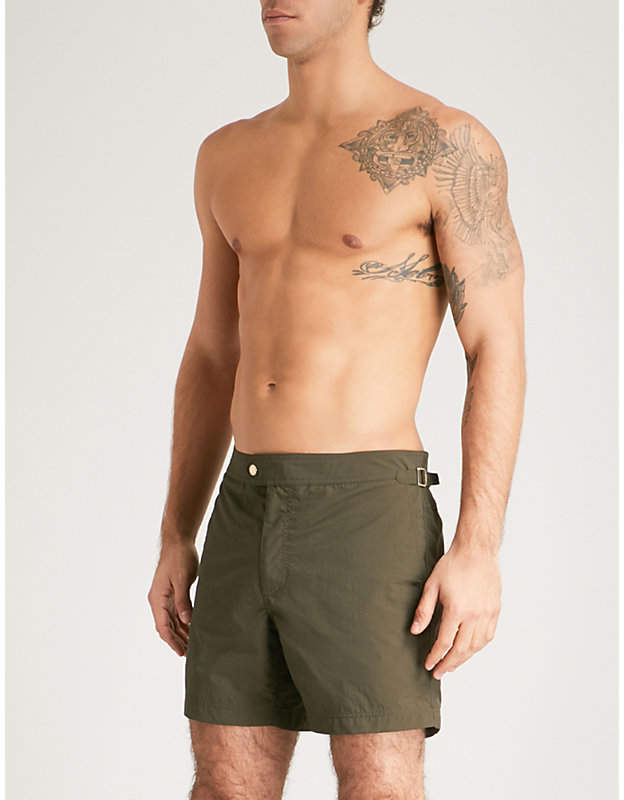 Mid-rise shell swim shorts