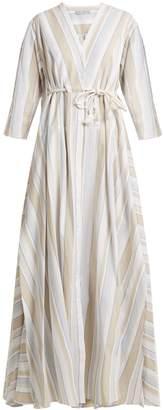Palmer Harding PALMER/HARDING Striped drawstring-waist cotton-blend maxi dress