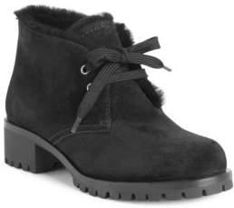 Prada Shearling-Trim Suede Winter Desert Boots