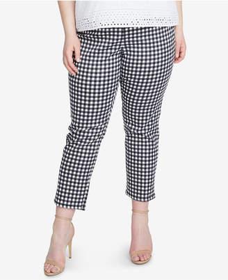 Rachel Roy Trendy Plus Size Slim-Leg Cropped Gingham Pants