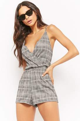 Forever 21 Glen Plaid Surplice Romper