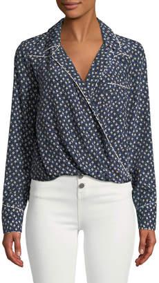 Veronica Beard Worth Floral-Print Long-Sleeve Silk Top