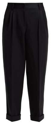Dolce & Gabbana Straight Leg Wool Cropped Trousers - Womens - Navy