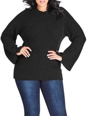 City Chic Plus Enchanting Knit Cross-Hatch Sweater