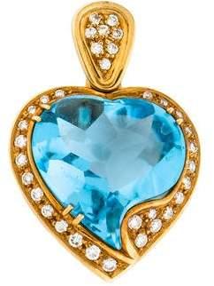 18K Topaz & Diamond Heart Pendant
