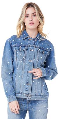 Juicy Couture Faux Pearl Embellished Denim Boyfriend Jacket