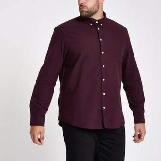 River Island Big and Tall burgundy long sleeve shirt
