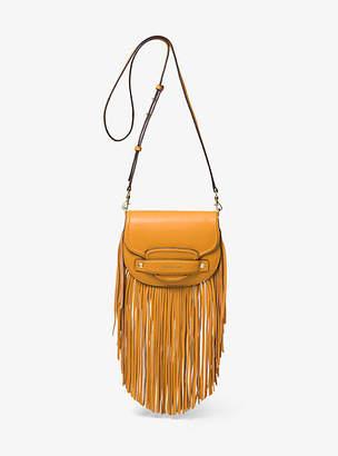 Michael Kors Cary Small Fringed Leather Saddle Bag