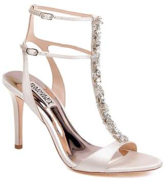 Badgley Mischka Hollow T-Strap Embellished Sandal