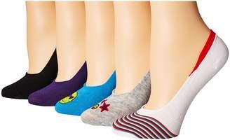 Steve Madden 5-Pack Embroidery Footie Women's Crew Cut Socks Shoes