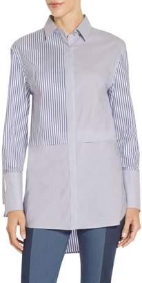 St. John Striped Shirting Jewel Neck Tunic