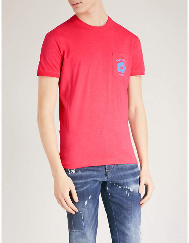 Flower-print cotton-jersey T-shirt