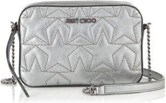 Jimmy Choo HAYA Small Day Bag in Anthracite Metallic Nappa with Star Matelasse