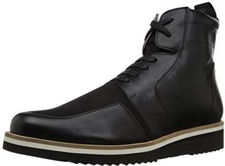Armani Exchange A|X Men's Lace Up Military Boot with Side Zip with Sole Detail Tactical