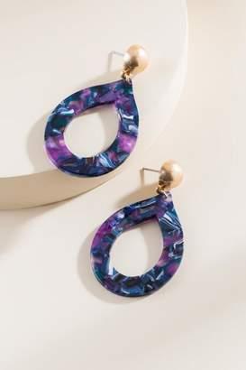 francesca's Haverly Marbled Resin Teardrop Earrings - Purple