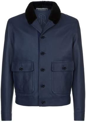 Stefano Ricci Mink Collar Leather Jacket