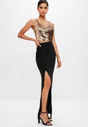 Missguided Black Slinky Split Side Maxi Skirt