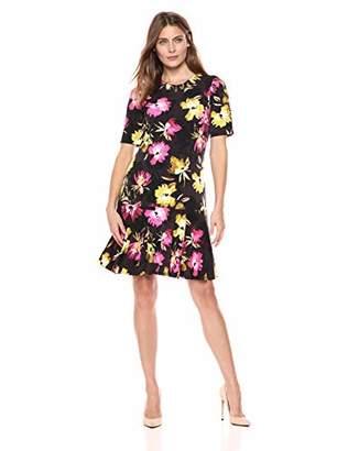 Ellen Tracy Women's Elbow Sleeve Dress with Flounce Hem
