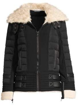 Blanc Noir Moto Aviator Faux-Fur Collar Down Puffer Jacket