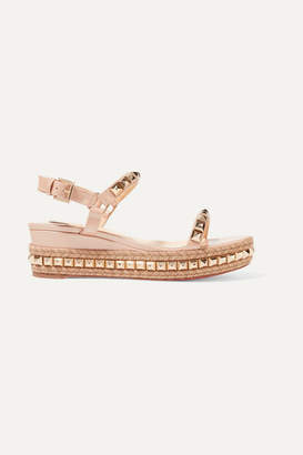 Christian Louboutin Cataclou 60 Embellished Patent-leather Wedge Espadrille Sandals - Neutral