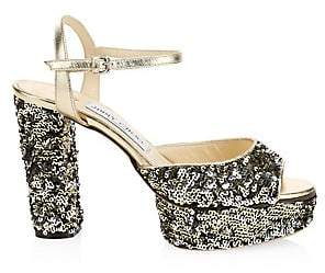 Jimmy Choo Women's Peachy Sequin Peep Toe Platform Heels
