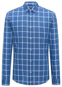 HUGO Boss Cotton Sport Shirt, Extra Slim Fit Ero W M Open Blue