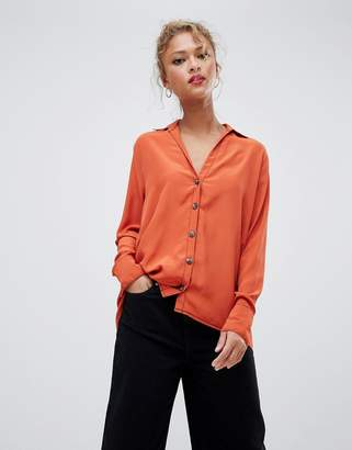 New Look contrast stitch shirt in orange