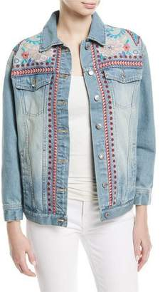 Johnny Was Oman Embroidered Denim Jacket, Plus Size
