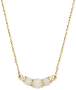 "Macy's Opal (5/8 ct. t.w.) & Diamond Accent 18"" Collar Necklace in 14k Gold"