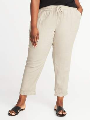 Old Navy Mid-Rise Plus-Size Linen-Blend Cropped Pants