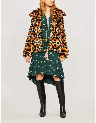 Mary Katrantzou Oates geometric-pattern faux-fur coat