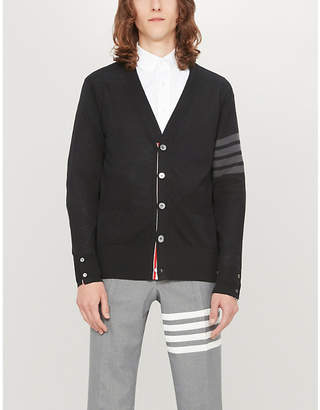 Thom Browne 4-bar striped-sleeve wool cardigan