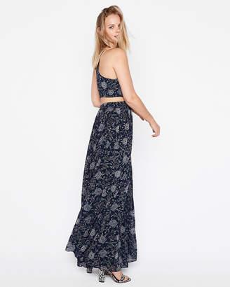 Express Floral Cut-Out Elastic Waist Maxi Dress