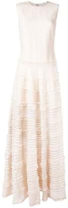 Givenchy ruffle trim sheer stripe evening gown