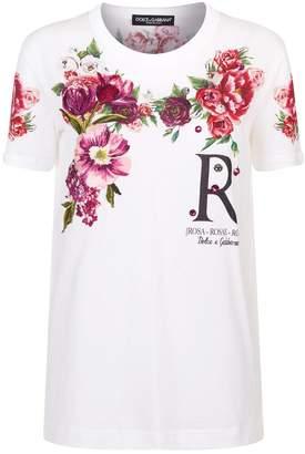 Dolce & Gabbana Embellished Peony Print T-Shirt