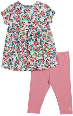 Joules Christina Floral Print Long-Sleeve Dress w/ Striped Leggings, Size 6-24 Months