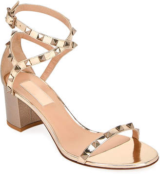 Valentino Rockstud Metallic Ankle-Wrap Sandals